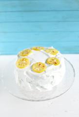 Lemon cake with cream cheese meringue icing