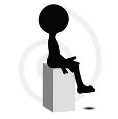 3d man in sitting pose