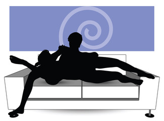 couple silhouette on sofa