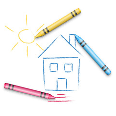 Kid Hand Drawing House
