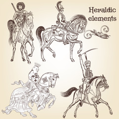 Collection of vector heraldic elements horses and knights