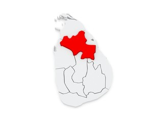 Map of North Central. Sri Lanka.