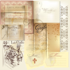 Collection of vector scrapbooking elements paper, stamps and sig