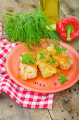 Three stuffed cabbage rolls