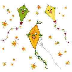 Papierdrachen Set mit Herbstblättern