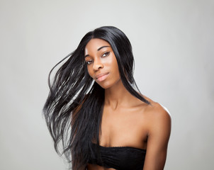 Black woman with long straight hair