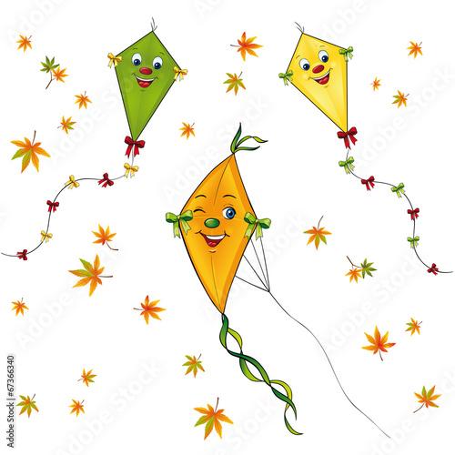 Papierdrachen Set mit Herbstblättern - 67366340