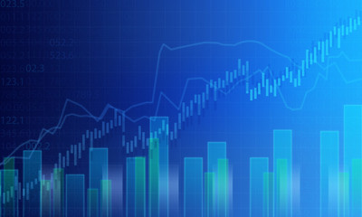 Business blue graph background