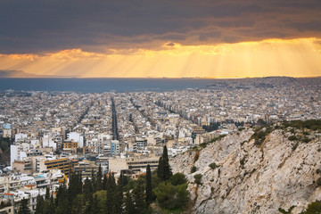 Evening view of Athens from Filopappou Hill.