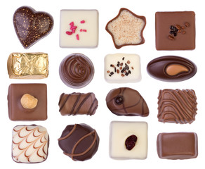 Chocolates isolated on white background