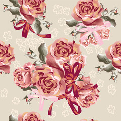 Floral seamless vector  pattern with roses