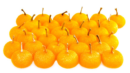 Small tangerines, isolated on white