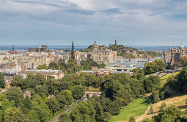 Scott monument, Carlton Hill and gardens in Edinburgh