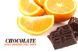 canvas print picture - Chocolate and orange isolated on white