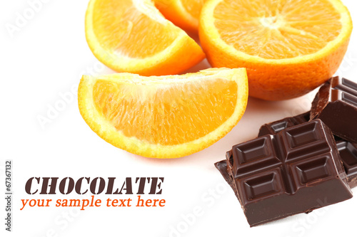 canvas print picture Chocolate and orange isolated on white