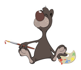 A brown bear the artist. Cartoon