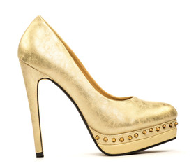 Elegant platform high heels in gold