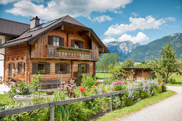 Traditional Alpine house in the mountains