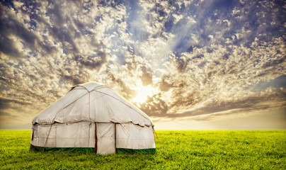 Urta nomadic house in steppe