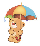 A bear cub and an umbrella