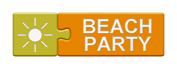 Puzzle-Button gelb orange: Beach Party