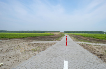 Bicycle road under construction in summer