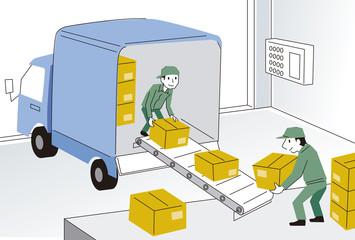 トラックから荷物を下ろす作業員