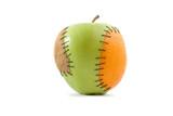 Apple with orange and kiwi inplant