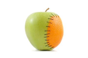 Apple with orange inplant
