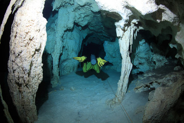 Underwater cavediving in the cenotes