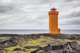 Orange lighthouse in Snaefellsnes poster