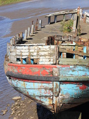 Old Wooden Boat with Peeling Paint - Portrait