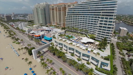Buildings at Fort Lauderdale Beach aerial video