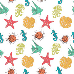 Seamless sea pattern with colorful marine inhabitants