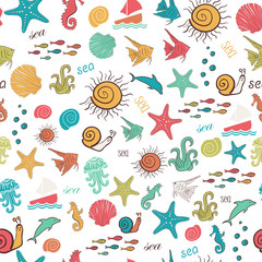 Colorful seamless pattern with sea marine inhabitants