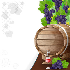 grapes, barrels and glass of wine