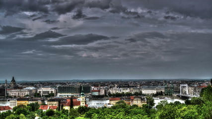 Budapest city skyline with HDR 4K