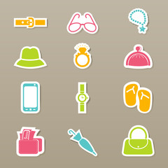 Accessory icons set vector