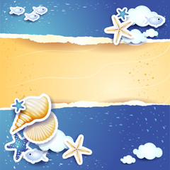 Holidays background with sea and sand
