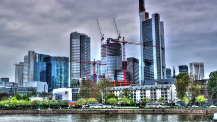 Frankfurt  financial district  with  construction