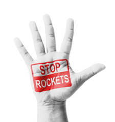 Open hand raised, Stop Rockets sign painted