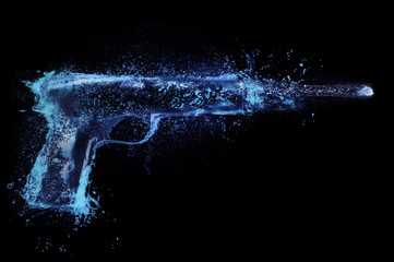 abstract pistol shooting. Splash