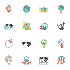 Globe and world map icons vector eps10