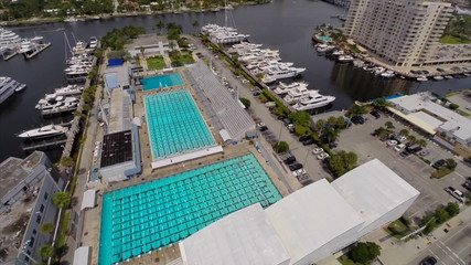 Aerial video Swimming pools