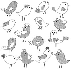 Vector Set of Doodle Style Birds