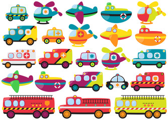 Vector Collection of Cute or Retro Style Emergency Rescue Vehicl