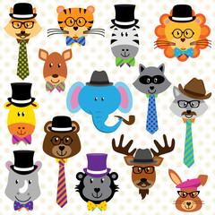 Cute Cartoon Collection of Well Dressed Animals