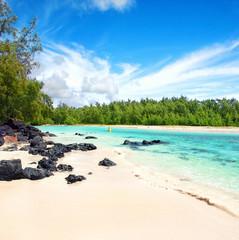 einsamer Strand auf Mauritius