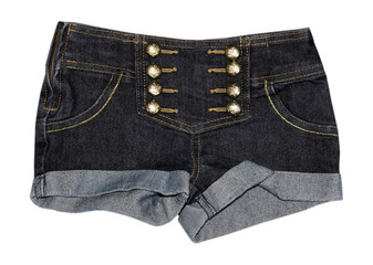 Female denim jeans shorts closeup isolated.
