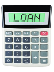 Calculator with Loan on display isolated on white background